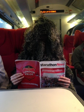 Ghillie Suit rides train from Sheffield to London