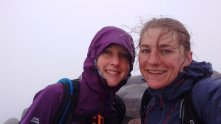 Ben Cruachan is Munro number 50! Here they are on the cloudy summit.