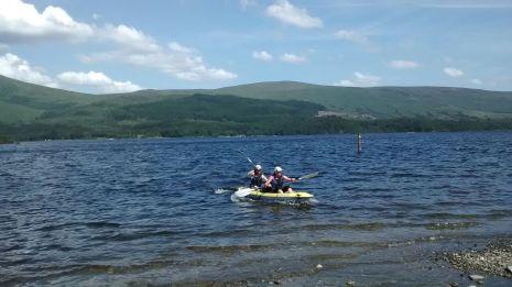kayaking loch lomond in the sun