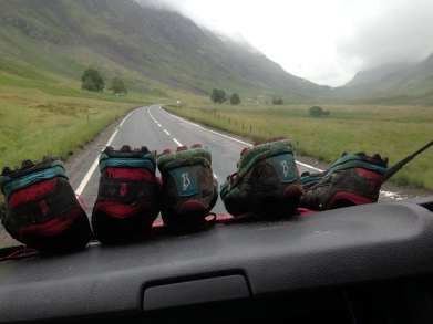 Julie, Libby's Mum getting creative with shoe drying while on route to meet the girls at their next road side spot.
