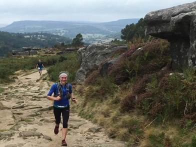 Lisa running along Froggatt